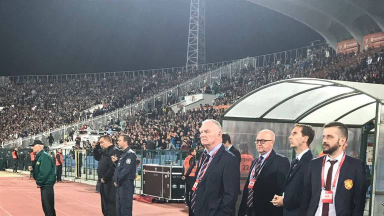 FA Chairman Greg Clarke was pitchside in Sofia during the second half
