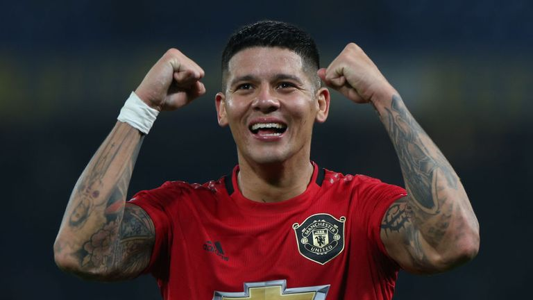Marcos Rojo celebrates the Carabao Cup win over Chelsea