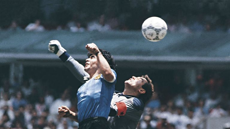 "The infamous ""Hand of God"" goal"