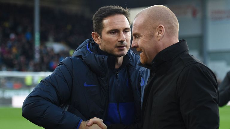 Chelsea head coach Frank Lampard and Burnley manager Sean Dyche