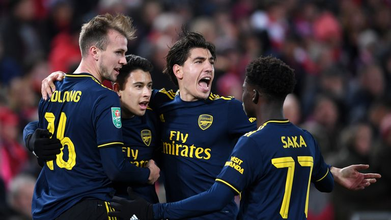 Gabriel Martinelli celebrates after doubling Arsenal's lead