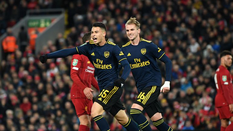 Gabriel Martinelli celebrates scoring Arsenal's second goal
