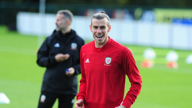 Gareth Bale of Wales in action during the Wales Training Session at The Vale Resort on October 9, 2019 in Cardiff
