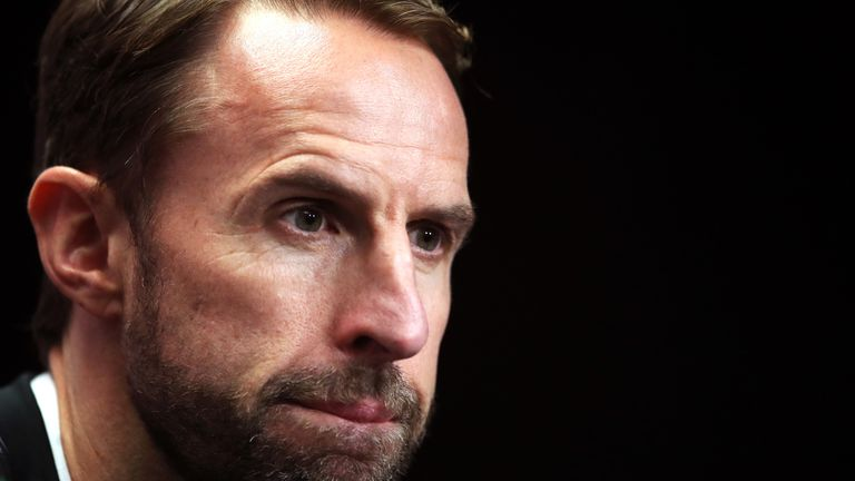 England manager Gareth Southgate during a press conference at Sinobo Stadium, Prague