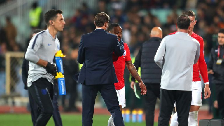 Gareth Southgate embraces Raheem Sterling after he is substituted during the second half of England's Euro 2020 qualifier vs Bulgaria