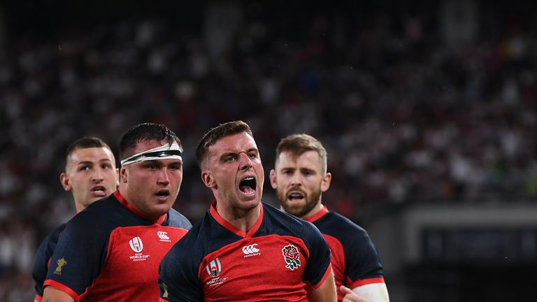 George Ford celebrates scoring a try against Argentina