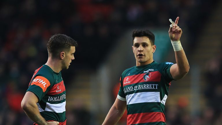 George Ford of Leicester Tigers and Matt Toomua of Leicester Tigers talk during the Gallagher Premiership Rugby match between Leicester Tigers and Gloucester Rugby at Welford Road Stadium on January 05, 2019 in Leicester, United Kingdom.