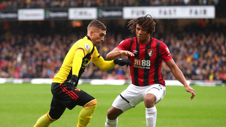 Gerard Deulofeu takes on Nathan Ake