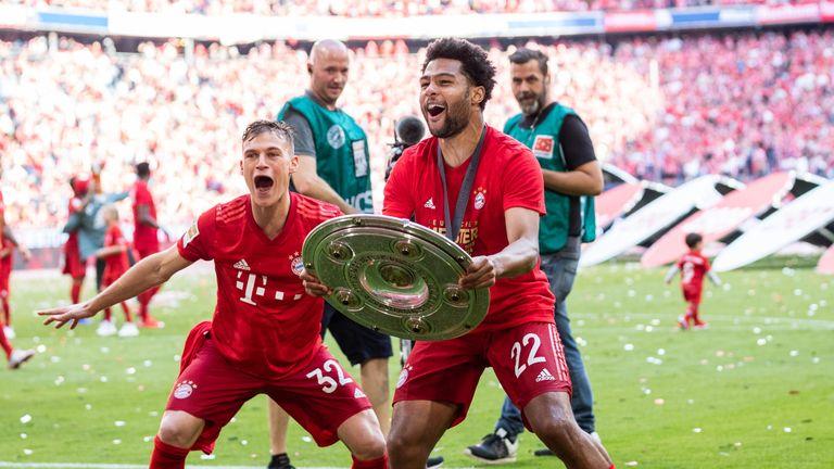 Gnabry celebrates Bayern Munich's  Bundesliga title win with Joshua Kimmich