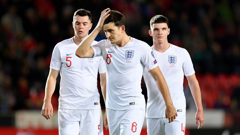 Harry Maguire was forced to pass long on nine occasions in the first half
