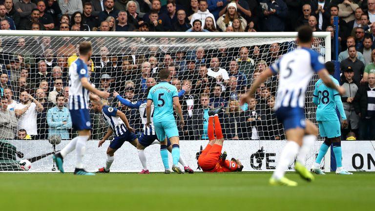 Tottenham keeper Hugo Lloris was injured as Brighton scored