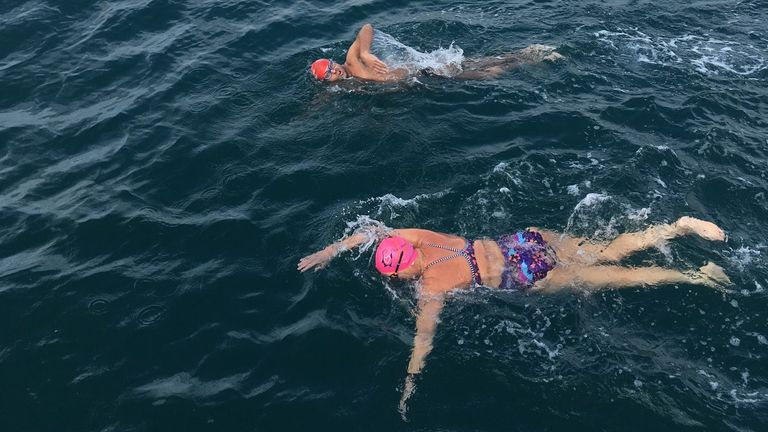 Vicki joined Hunter in the water for an hour's swim, two-thirds of the way across