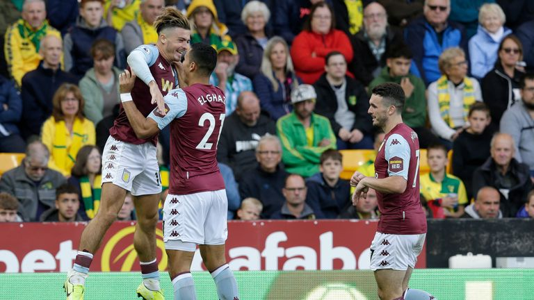 Jack Grealish of Aston Villa celebrates after scoring his sides third goal with Anwar El Ghazi of Aston Villa during the Premier League match between Norwich City and Aston Villa at Carrow Road