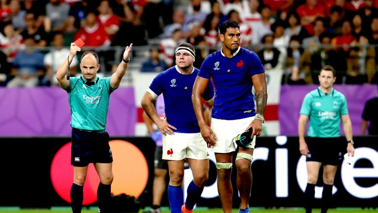 Referee Jaco Peyper shows France's Sebastien Vahaamahina a red card during the 2019 Rugby World Cup Quarter Final vs Wales