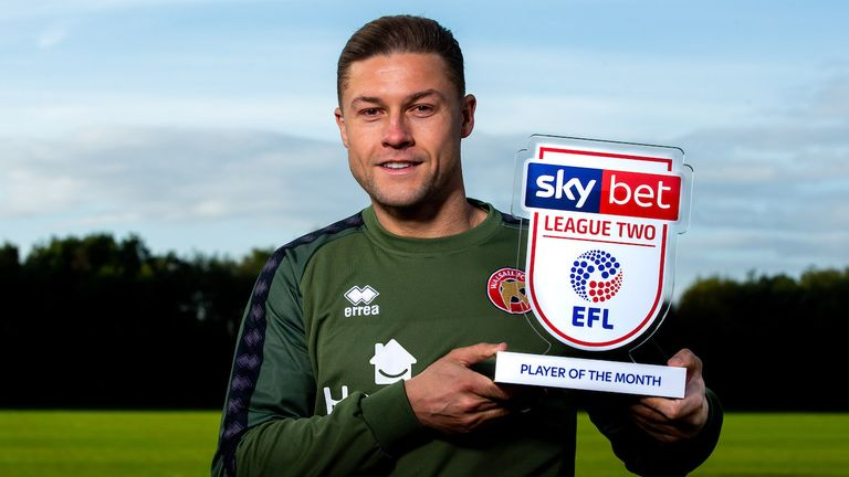 James Clarke of Walsall wins the Sky Bet League Two Player of the Month award - Mandatory by-line: Robbie Stephenson/JMP - 10/10/2019 - FOOTBALL - Walsall FC Training Ground - Walsall, England - Sky Bet Player of the Month Award