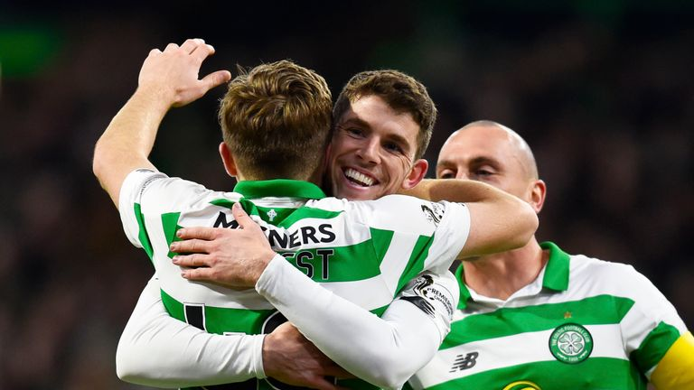 Celtic's James Forrest celebrates with Ryan Christie after scoring to make it 2-0