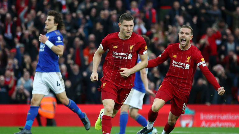 James Milner's penalty was the 34th time Liverpool have scored a 90th-minute winning goal in a Premier League match