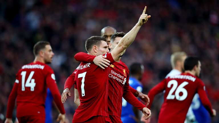 James Milner of Liverpool celebrates after scoring his team's second goal during the Premier League match between Liverpool FC and Leicester City at Anfield on October 05, 2019 in Liverpool, United Kingdom
