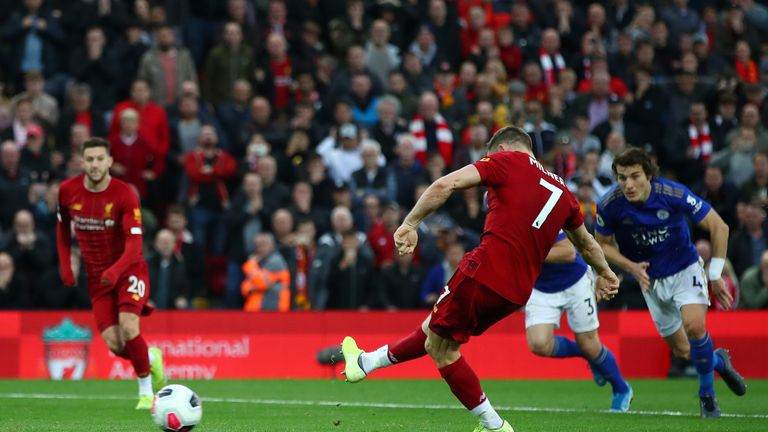 James Milner's goal was his first in the Premier League since netting a penalty against Cardiff in April