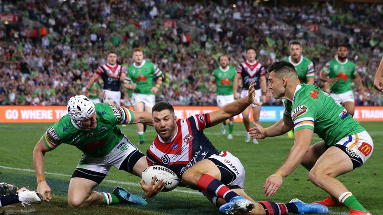 James Tedesco scores the winning try for the Roosters in the NRL Grand Final