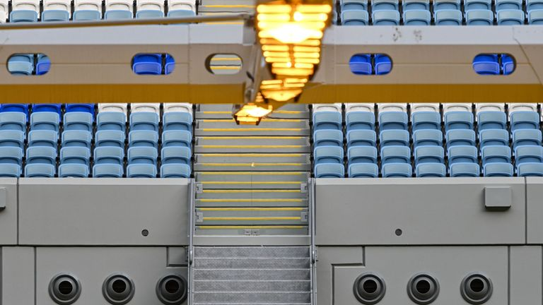 The air-condition vents that can be used to blow cold air at the Janoub Stadium in the capital Doha
