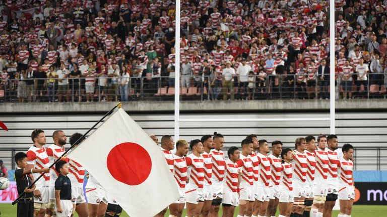 japan line up ahead of their national anthem