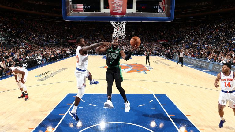 Jaylen Brown of the Boston Celtics shoots the ball against the New York Knicks