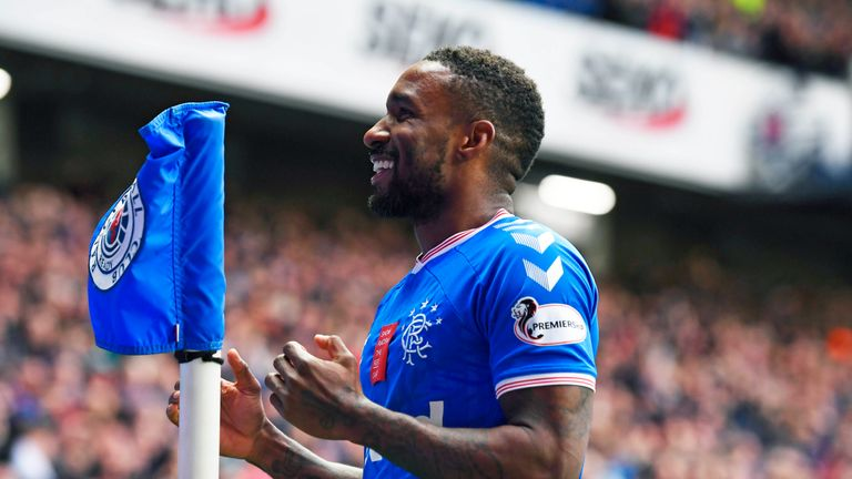 Jermain Defoe celebrates after opening the scoring for Rangers against Hamilton