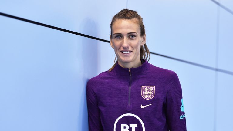 Jill Scott poses for a photograph during the England Women's Senior Team Media Day at St Georges Park