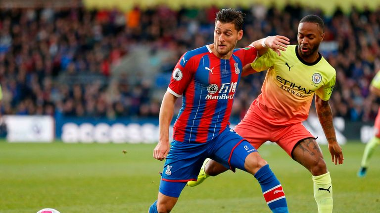 Joel Ward and Raheem Sterling in action at Selhurst Park