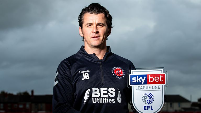 Joey Barton of Fleetwood Town wins the Sky Bet League One Manager of the Month award - Mandatory by-line: Robbie Stephenson/JMP - 08/10/2019 - FOOTBALL - Fleetwood Town Training Complex - Fleetwood, England - Sky Bet Manager of the Month Award