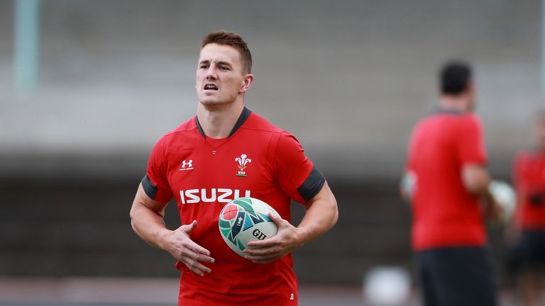 Wales centre Jonathan Davies in training