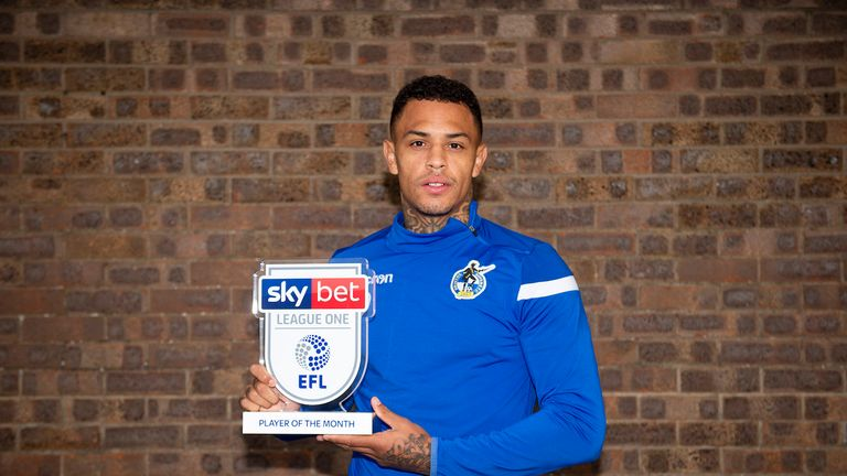 Jonson Clarke-Harris of Bristol Rover wins the Sky Bet League One Player of the Month award - Mandatory by-line: Dougie Allward/JMP - 10/10/2019 - FOOTBALL -  - , England - Sky Bet Player of the Month Award