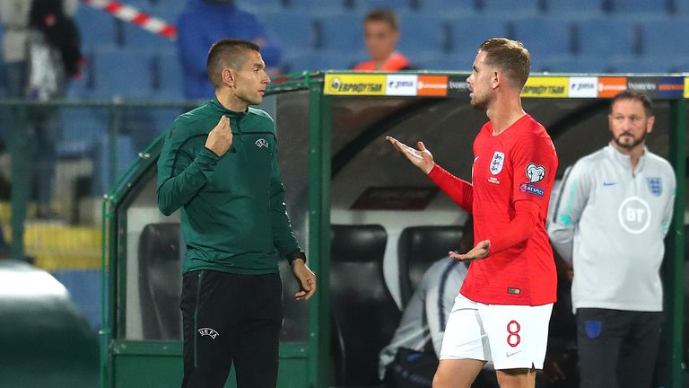 Jordan Henderson of England questions an official during the UEFA Euro 2020 qualifier between Bulgaria and England on October 14, 2019 in Sofia, Bulgaria.