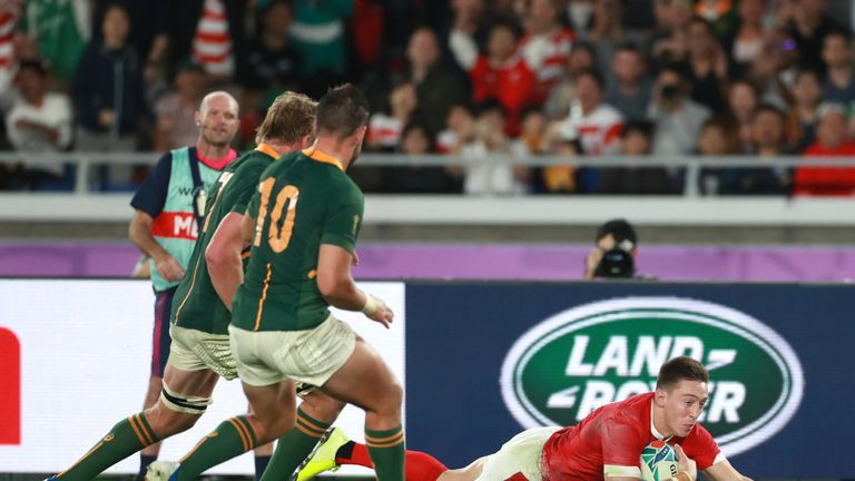 Josh Adams got Wales back into the semi-final quickly when he dived over in the corner
