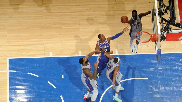 Josh Richardson of the Philadelphia 76ers shoots the ball against the Detroit Pistons