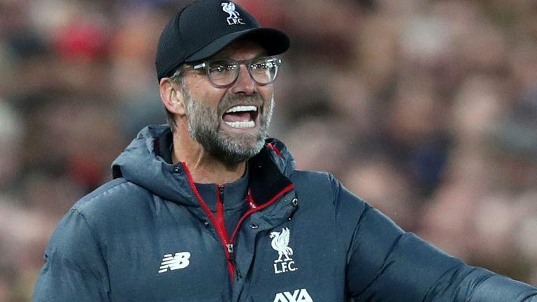 Jurgen Klopp during  Liverpool's Champions League match against RB Salzburg