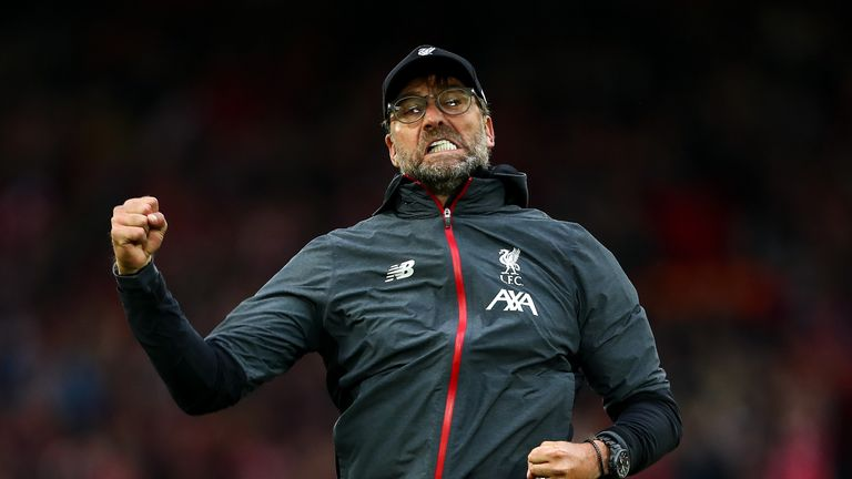Jurgen Klopp celebrates at full time during the Premier League match between Liverpool and Leicester City at Anfield