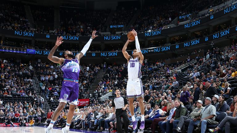 Justin James of the Sacramento Kings shoots the ball against the Utah Jazz