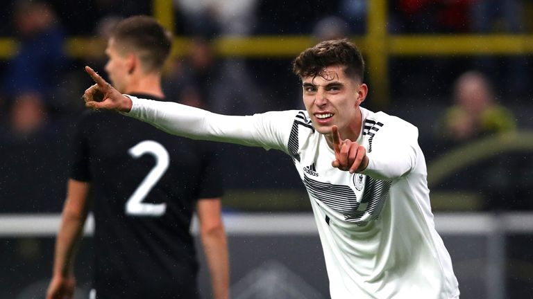Kai Havertz of Germany celebrates after scoring his side's second goal against Argentina