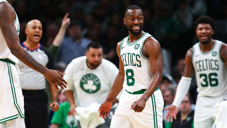 Kemba Walker of the Boston Celtics reacts in the third quarter of a gem against the Milwaukee Bucks