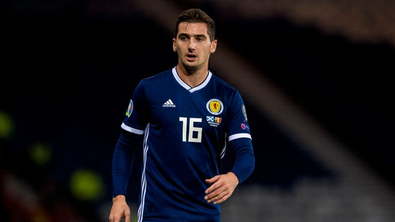 Kenny McLean in action for Scotland during a UEFA Euro 2020 qualifier between Scotland and Belgium, at Hampden Park, on September 9, 2019, in Glasgow, Scotland.