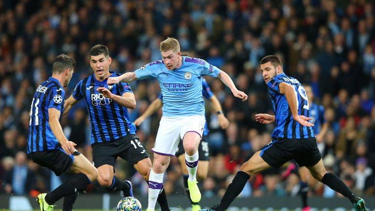 Kevin De Bruyne escapes four Atalanta players during another fine display through the week