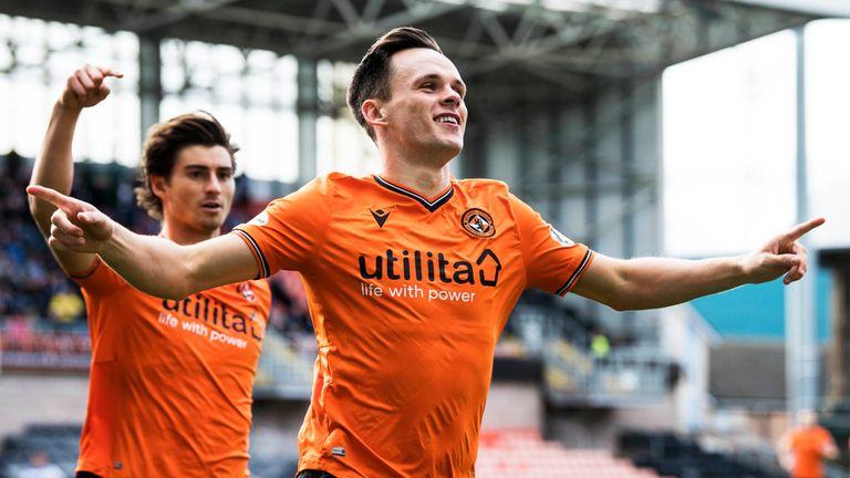Dundee United's Lawrence Shankland celebrates scoring  against Greenock Morton