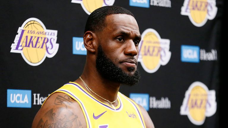 LeBron James #23 of the Los Angeles Lakers speaks to the media during media day on September 27, 2019 at the UCLA Health Training Center in El Segundo, California