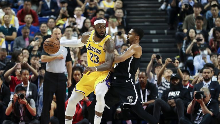 LeBron James played for Los Angeles Lakers during their pre-season game against Brooklyn Nets as part of the NBA Global Games in China