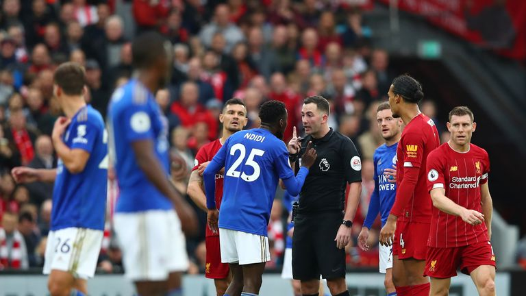 Referee Chris Kavanagh was confronted by incensed Leicester players after giving the penalty