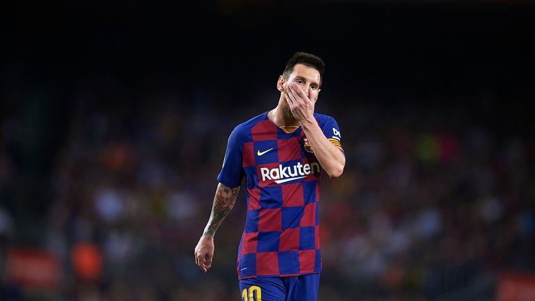 Lionel Messi in action for Barcelona against Sevilla