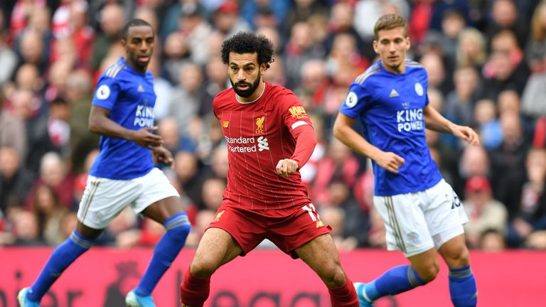 Mo Salah in action for Liverpool against Leicester