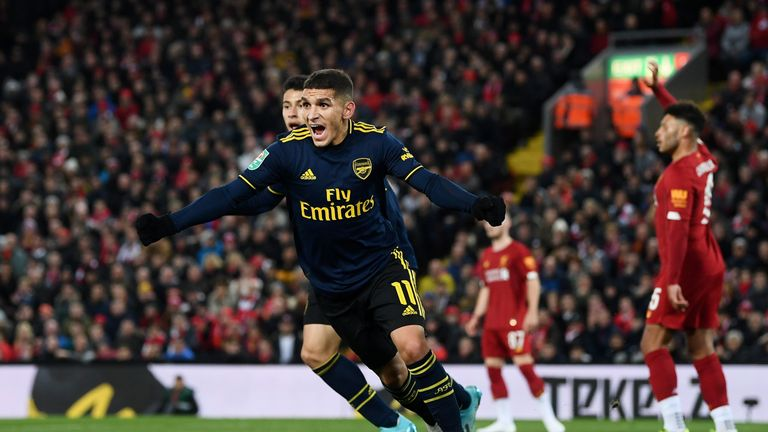 Lucas Torreira celebrates his 19th minute equaliser